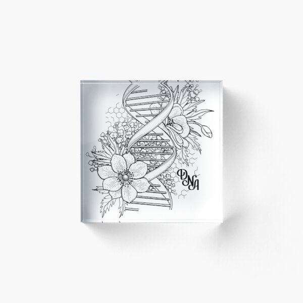 Graphic DNA structure with floral design Acrylic Block