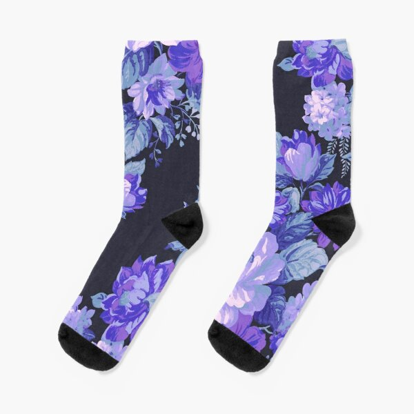 Midnight Floral Pattern Socks
