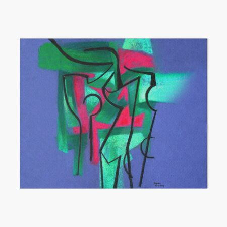 Abstraction in green, fuchsia and black Art Board Print