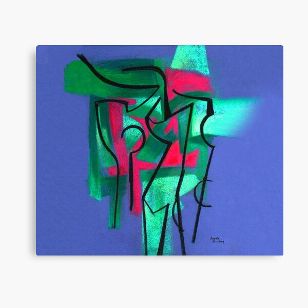 Abstraction in green, fuchsia and black Canvas Print
