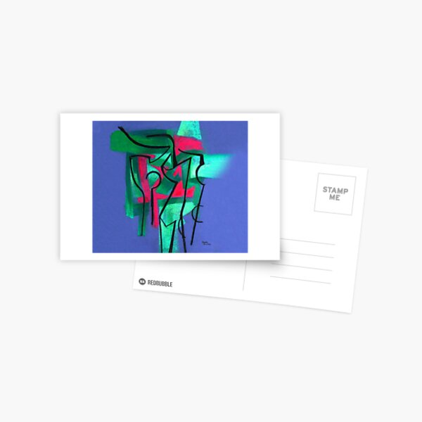 Abstraction in green, fuchsia and black Postcard