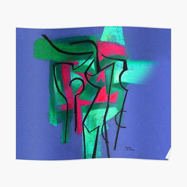 Abstraction in green, fuchsia and black Poster