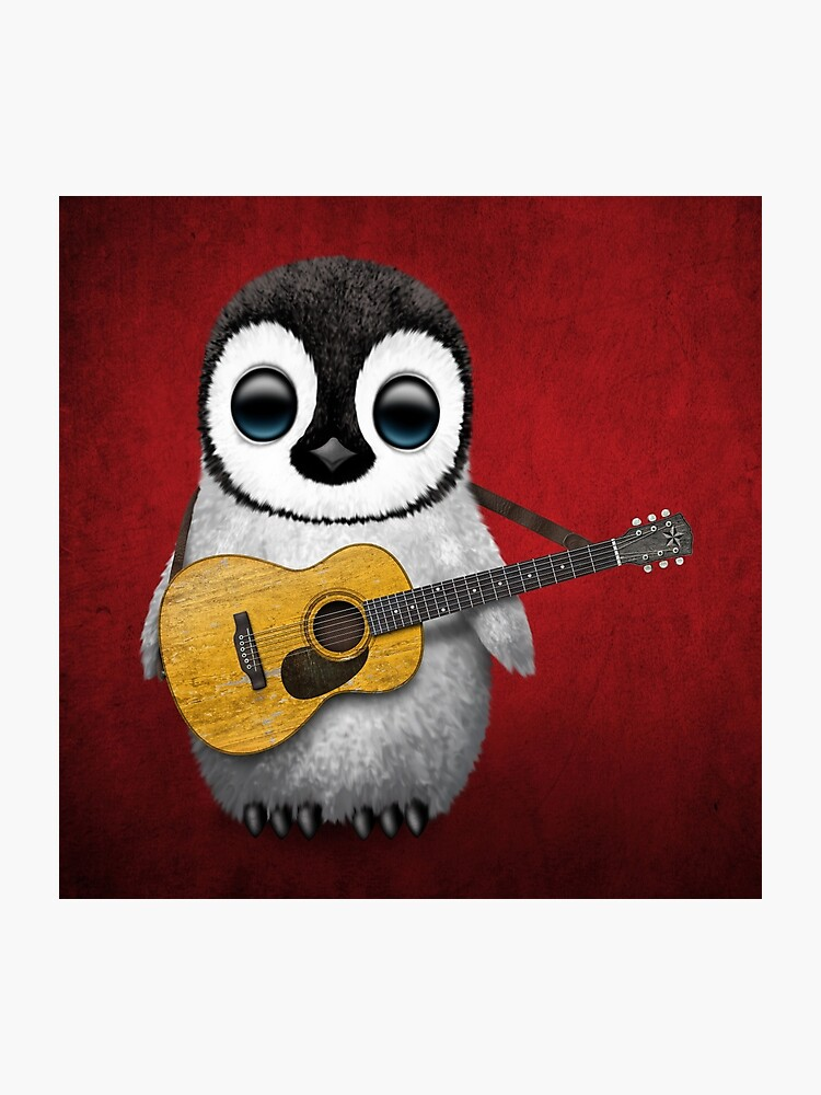Musical Baby Penguin Playing Guitar Red | Photographic Print