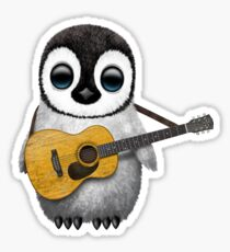 Musical Baby Penguin Playing Guitar Red Sticker