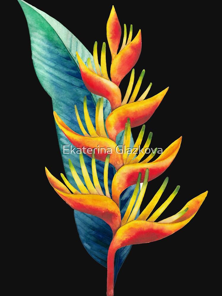 Watercolor heliconia by Glazkova