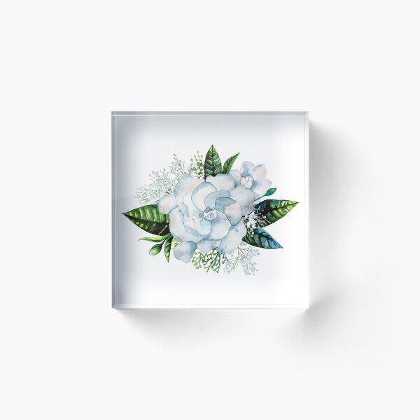 Watercolor gardenia and gypsophila vignette Acrylic Block
