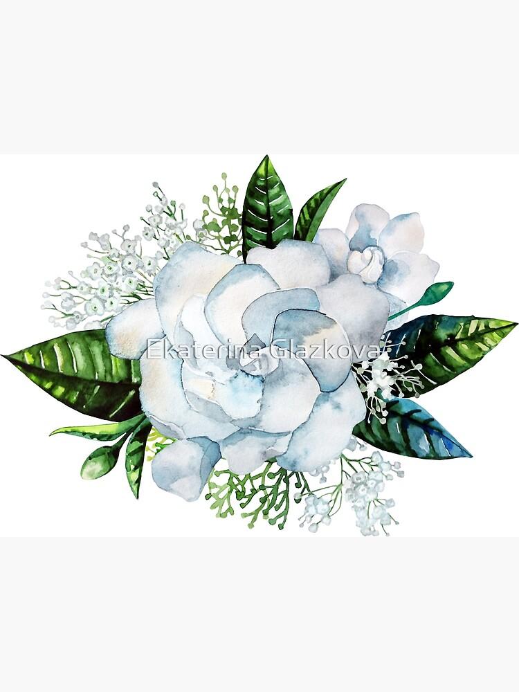 Viñeta de gardenia y gypsophila acuarela de Glazkova