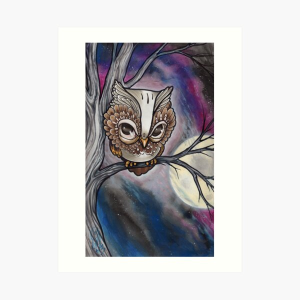shy night owl painting. Art Print