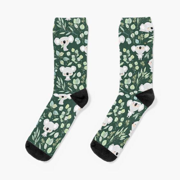 Koala and Eucalyptus Pattern Socks