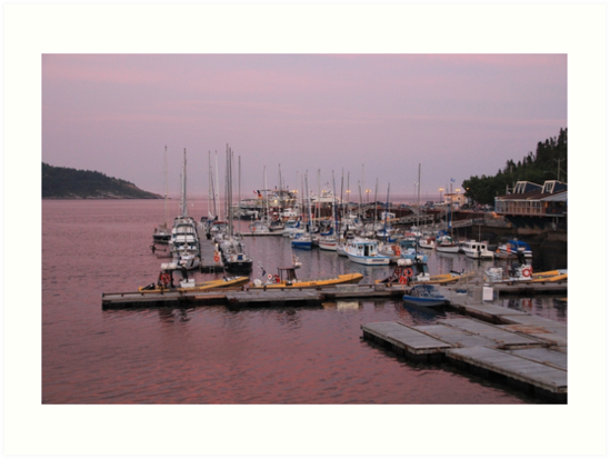 Purple Sunset Tadoussac Harbour by hummingbirds