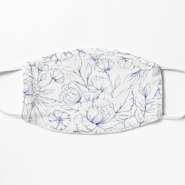 Modern hand drawn navy blue white elegant floral pattern Mask