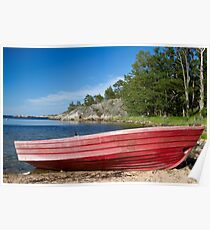 Red boat. Poster