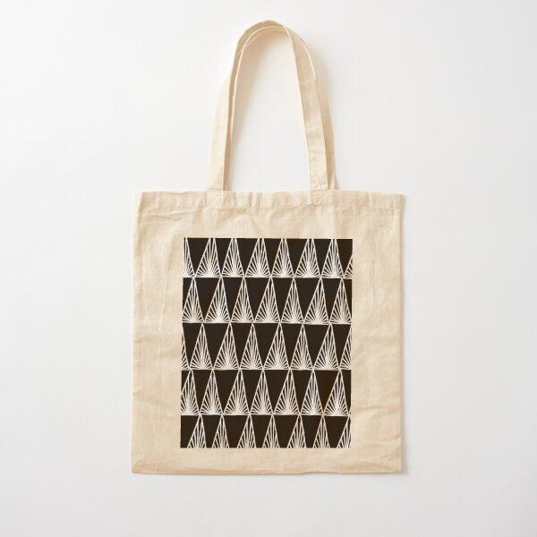 Hand Drawn Geometric Triangle Monochrome Art Deco Pattern Cotton Tote Bag