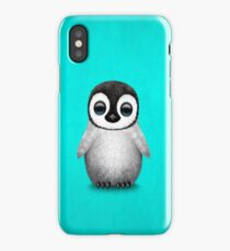 Cute Baby Penguin on Blue iPhone Case