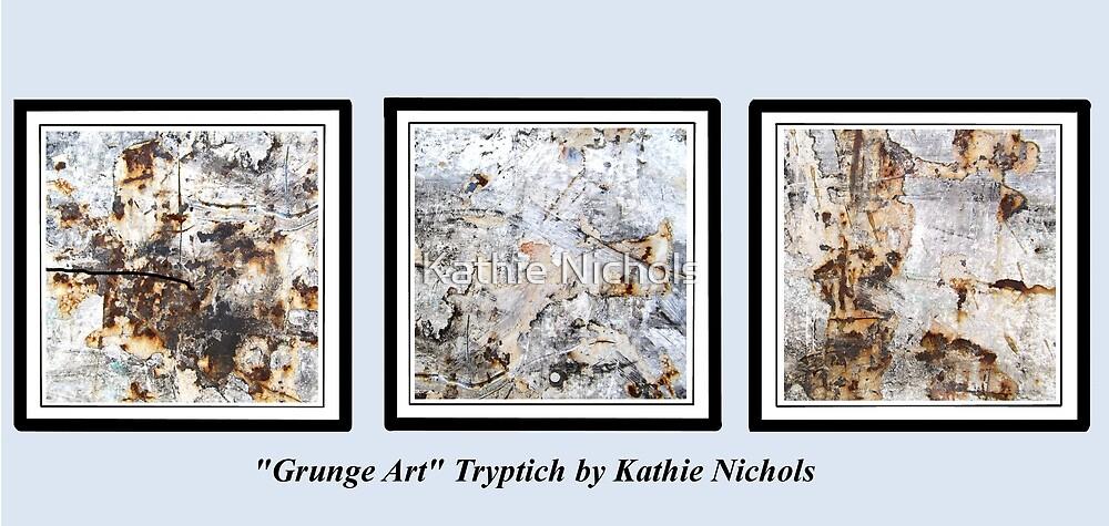 Grunge Art Tryptich by Kathie Nichols