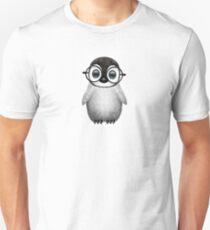 Cute Baby Penguin Wearing Eye Glasses on Blue Unisex T-Shirt