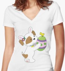 Cute Puppy Easter Egg Women's Fitted V-Neck T-Shirt
