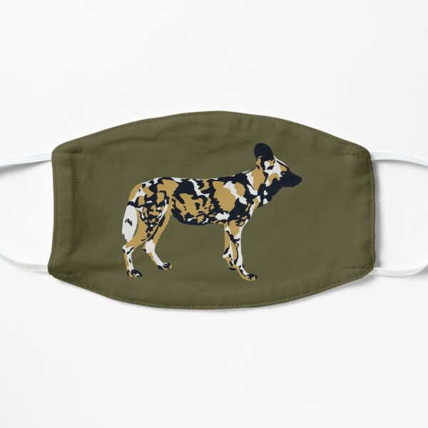 African Painted Dog Portrait Flat Mask