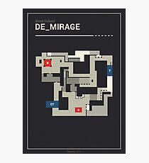 Counter-Strike de_mirage with white outline Photographic Print