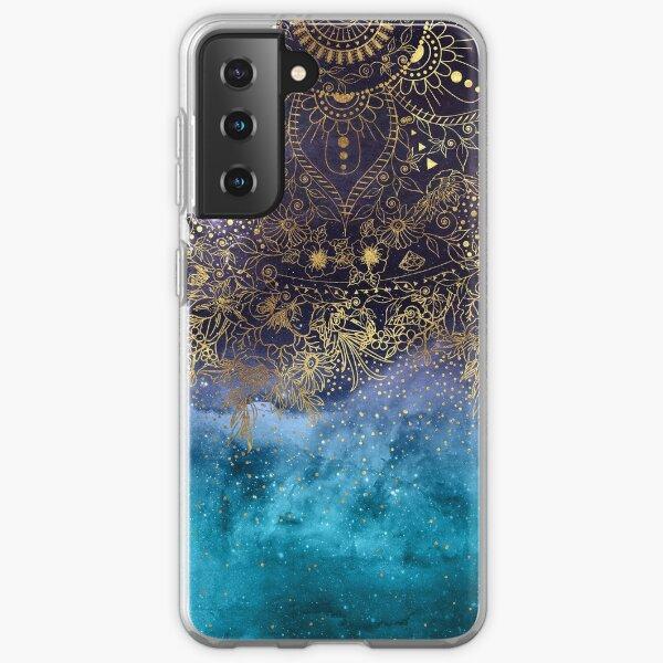 Gold floral mandala and confetti image Samsung Galaxy Soft Case