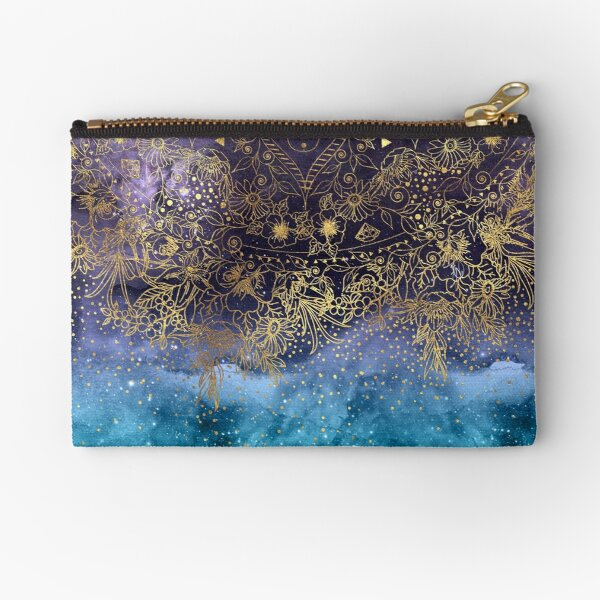 Gold floral mandala and confetti image Zipper Pouch