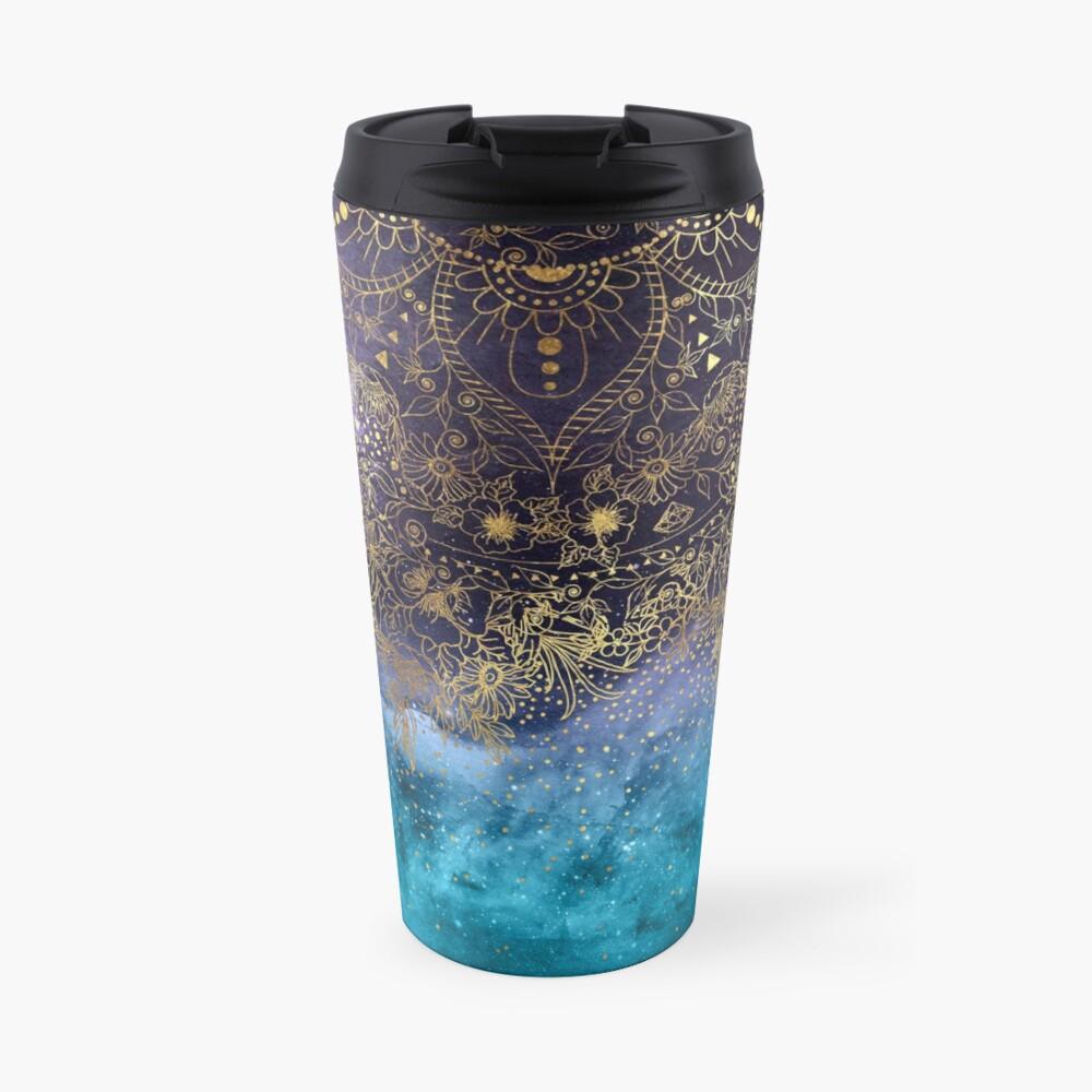 Gold floral mandala and confetti image Travel Mug