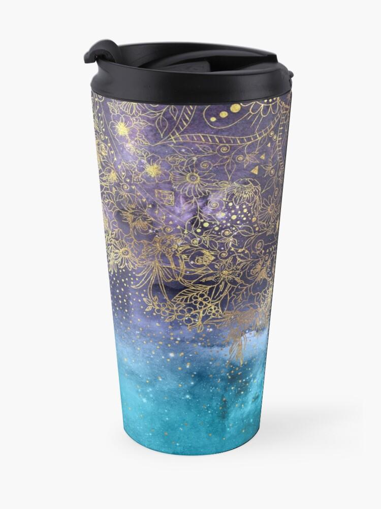 Alternate view of Gold floral mandala and confetti image Travel Mug