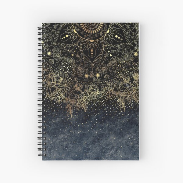 Stylish Gold floral mandala and confetti  Spiral Notebook
