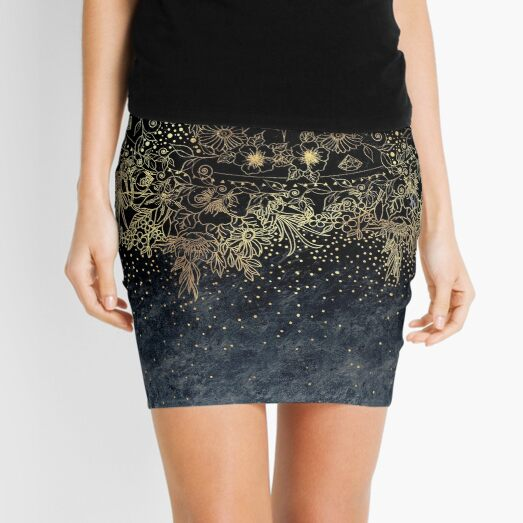 Stylish Gold floral mandala and confetti  Mini Skirt