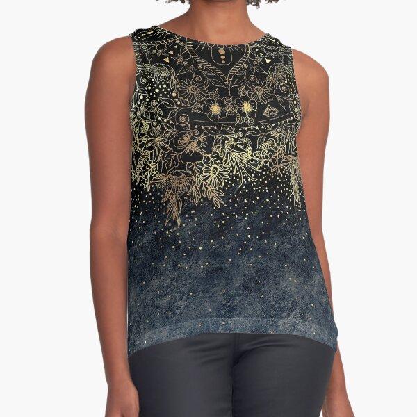 Stylish Gold floral mandala and confetti  Sleeveless Top