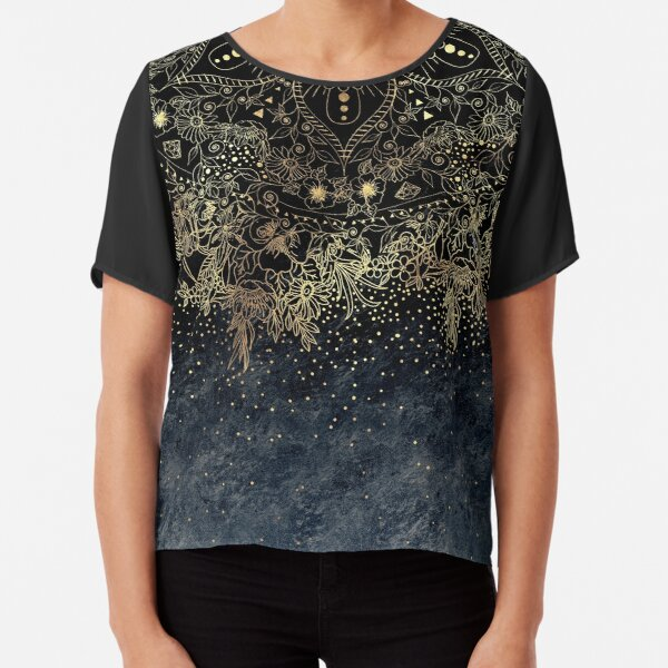 Stylish Gold floral mandala and confetti  Chiffon Top