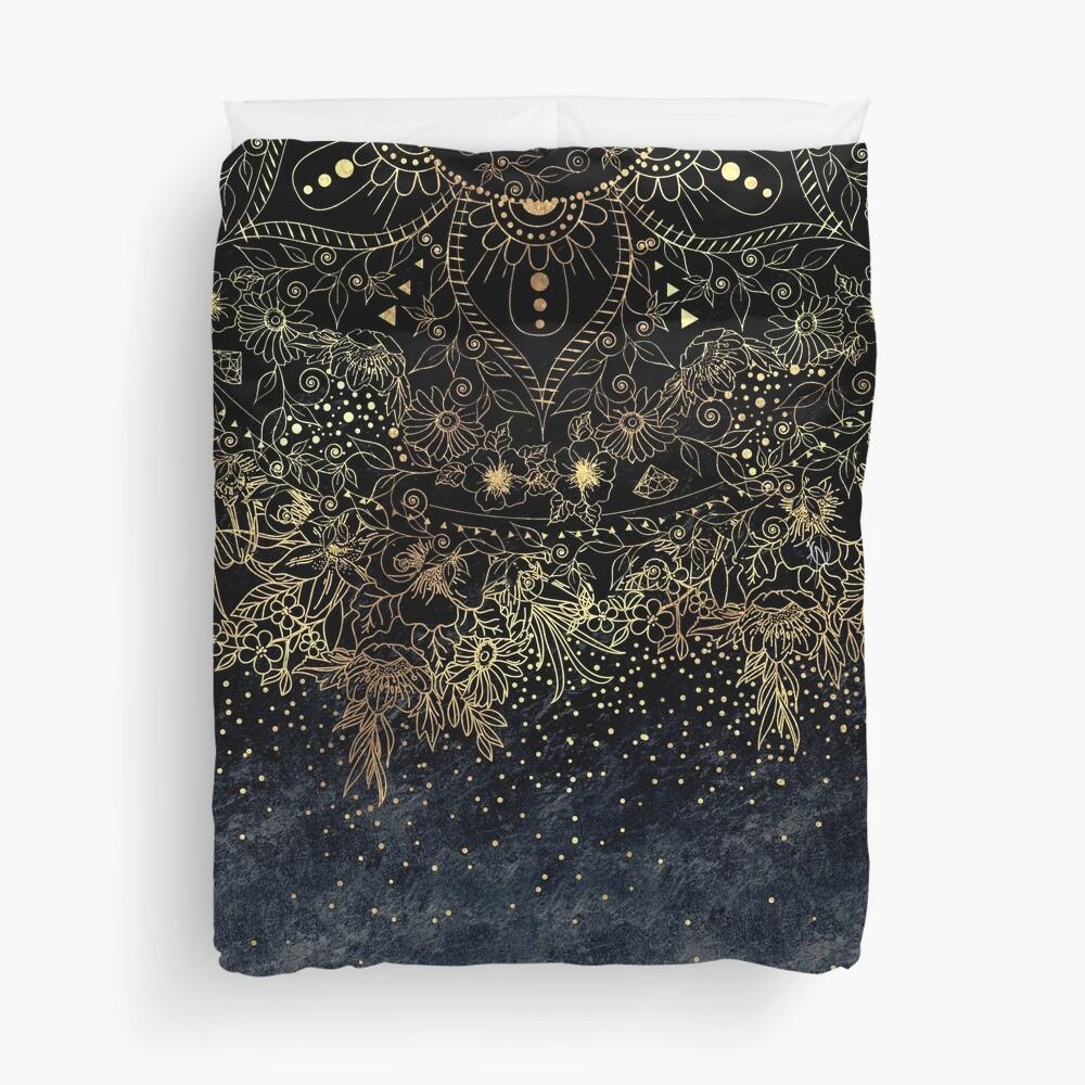 Stylish Gold floral mandala and confetti  Duvet Cover