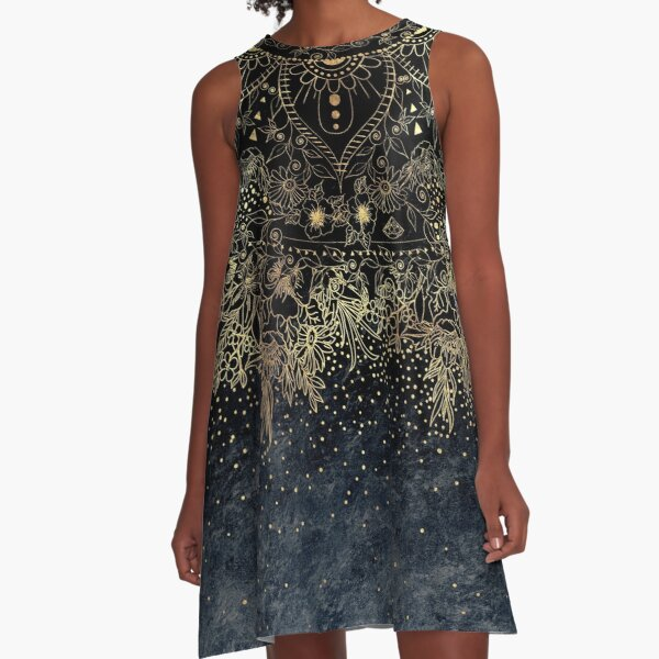Stylish Gold floral mandala and confetti  A-Line Dress