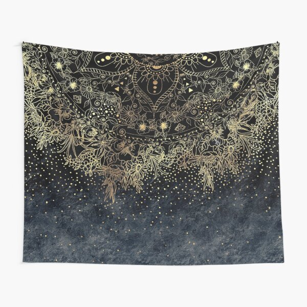 Stylish Gold floral mandala and confetti  Tapestry