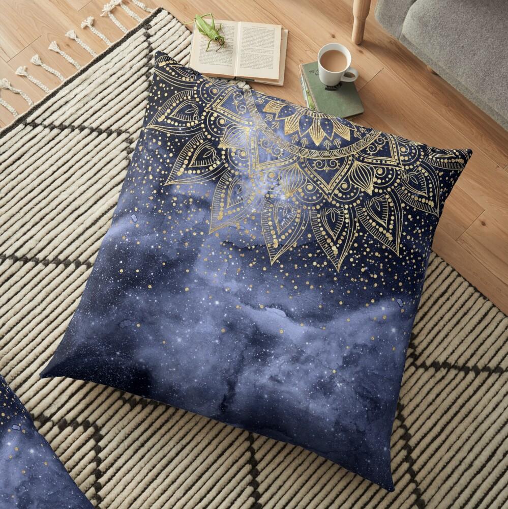 whimsical gold mandala confetti design Floor Pillow
