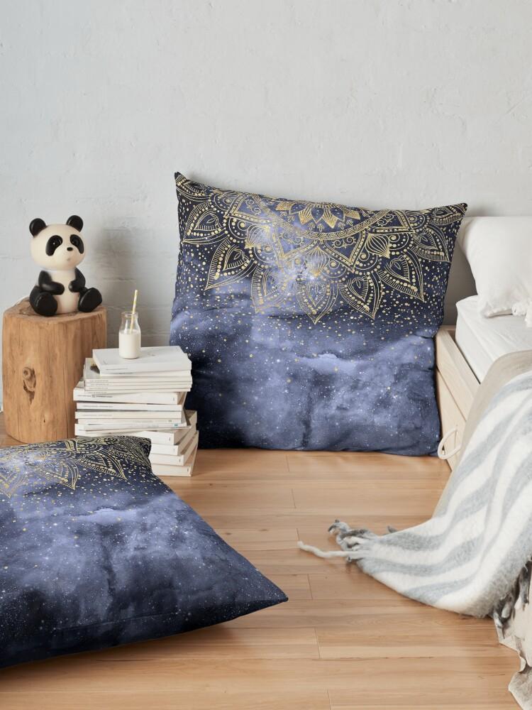 Alternate view of whimsical gold mandala confetti design Floor Pillow