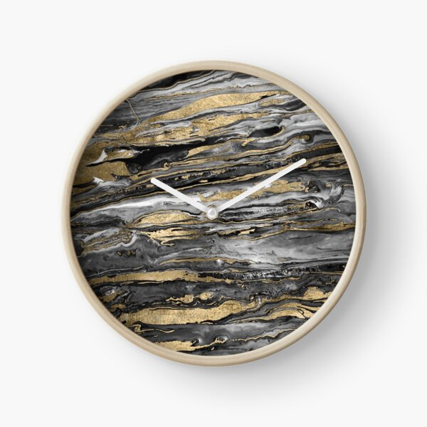 Stylish gold abstract marbleized paint Clock