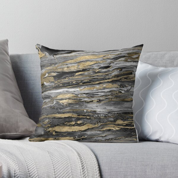 Stylish gold abstract marbleized paint Throw Pillow