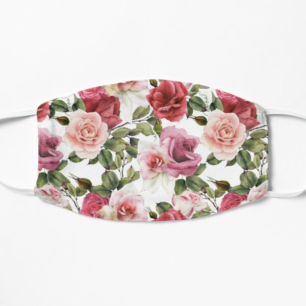 Face Mask with Pink, White and Red Roses Pattern Mask