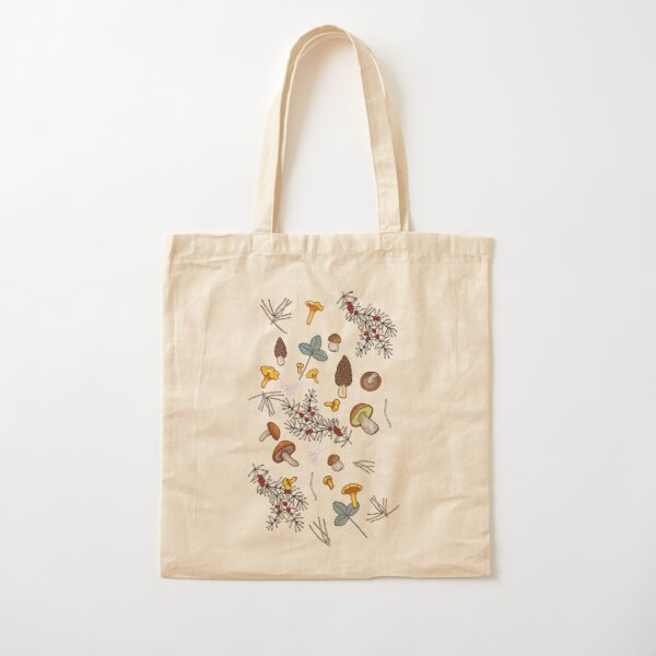 dark wild forest mushrooms Cotton Tote Bag