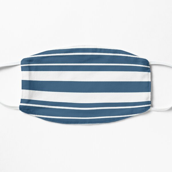Teal blue and white stripe pattern Mask