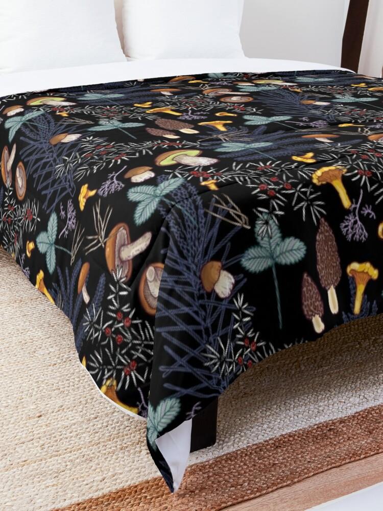 Alternate view of dark wild forest mushrooms Comforter