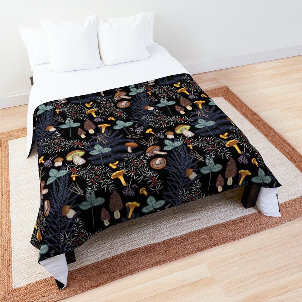 dark wild forest mushrooms Comforter
