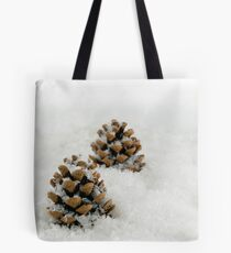 Fir Cones in a Snow Scene Tote Bag