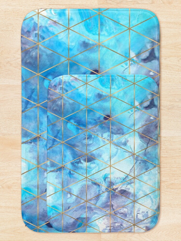 Alternate view of Geometric Pattern on Marble Background Bath Mat