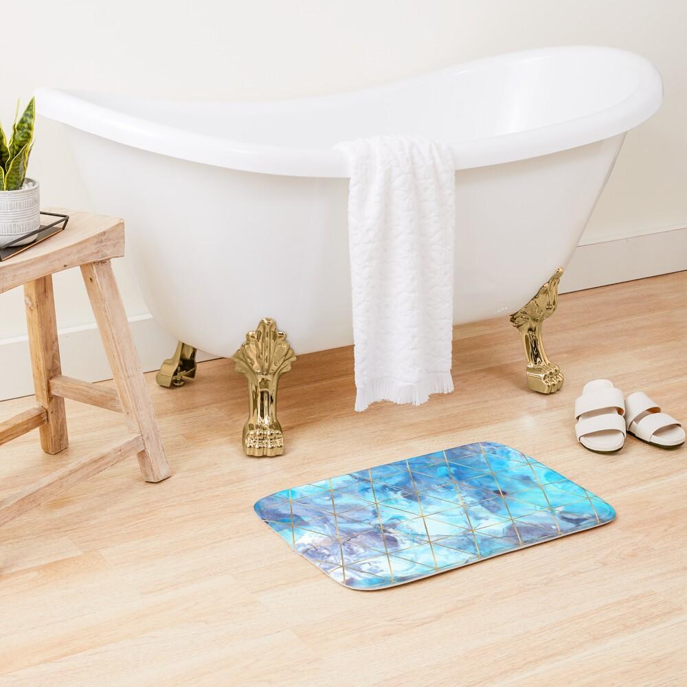 Geometric Pattern on Marble Background Bath Mat