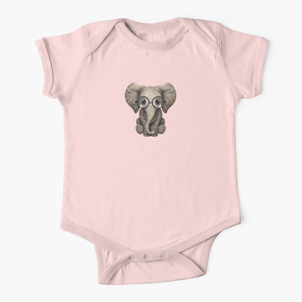 Cute Baby Elephant Calf with Reading Glasses on Pink Baby One-Piece