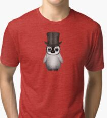 Cute Baby Penguin with Monocle and Top Hat on Yellow Tri-blend T-Shirt