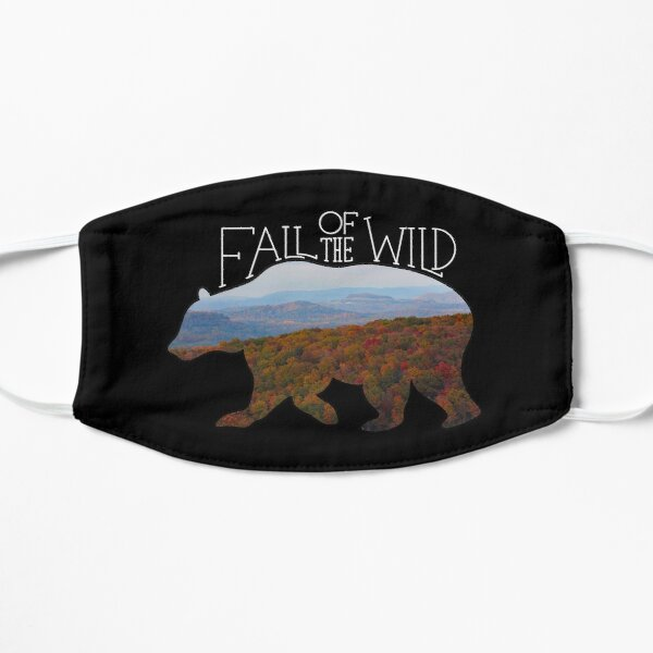 Fall of the Wild Autumn Mountain Wilderness Landscape Bear Silhouette On Black Flat Mask