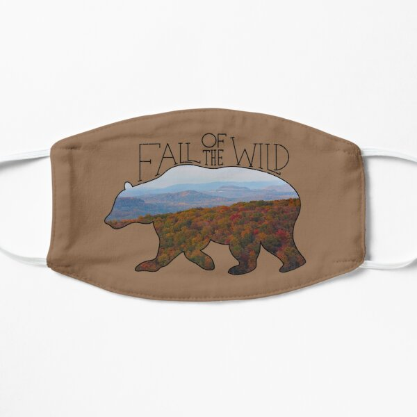 Fall of the Wild Autumn Mountain Wilderness Landscape Bear Silhouette On Brown Flat Mask